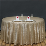 "90"" Round Grand Duchess Sequin Tablecloth - Champagne"