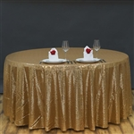 "90"" Round Grand Duchess Sequin Tablecloth - Gold"