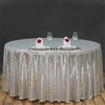 "90"" Round Grand Duchess Sequin Tablecloth - Silver"