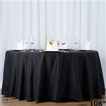"108"" Seamless Value Plus Polyester Round Tablecloth - Black"