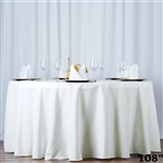 "108"" Seamless Value Plus Polyester Round Tablecloth - Ivory"
