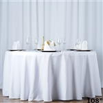 "108"" Seamless Value Plus Polyester Round Tablecloth - White"