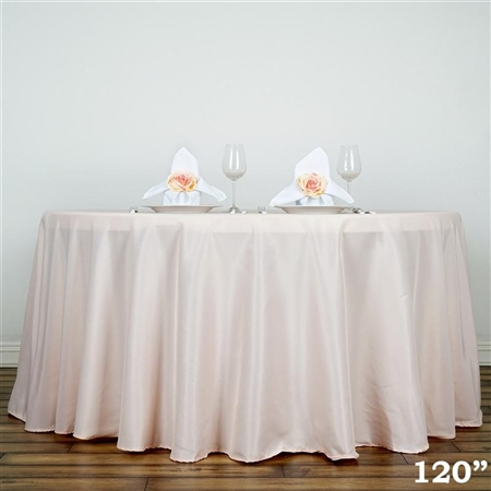 "120"" Blush Wholesale Polyester Round Tablecloth for Wedding Banquet Restaurant"