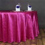 "Lily Embossed Satin Tablecloth 120"" Round - Fushia"