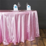 "Lily Embossed Satin Tablecloth 120"" Round - Pink"
