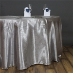 "Lily Embossed Satin Tablecloth 120"" Round - Silver"