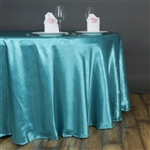 "Lily Embossed Satin Tablecloth 120"" Round - Turquoise"