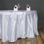 "Lily Embossed Satin Tablecloth 120"" Round - White"