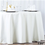 "120"" Seamless Value Plus Polyester Round Tablecloth - Ivory"