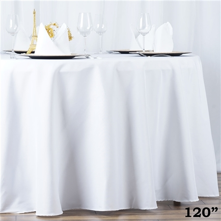 "120"" Seamless Value Plus Polyester Round Tablecloth - White"