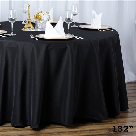 "132"" Seamless Value Plus Polyester Round Tablecloth - Black"