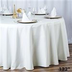 "132"" Seamless Value Plus Polyester Round Tablecloth - Ivory"