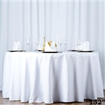 "132"" Seamless Value Plus Polyester Round Tablecloth - White"