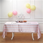 "60""x102"" Stripe Satin Seamless Rectangle Tablecloth - Blush/Rose Gold & White"