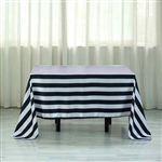 "60""x102"" Stripe Satin Seamless Rectangle Tablecloth - Black & White"