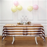 "60""x102"" Stripe Satin Seamless Rectangle Tablecloth - Gold & White"