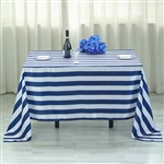 "60""x102"" Stripe Satin Seamless Rectangle Tablecloth - Navy & White"