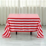 "60""x102"" Stripe Satin Seamless Rectangle Tablecloth - Red & White"