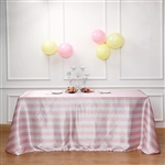 "90""x132"" Stripe Satin Seamless Rectangle Tablecloth - Blush/Rose Gold & White"