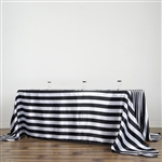 "90""x132"" Stripe Satin Seamless Rectangle Tablecloth - Black & White"
