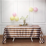 "90""x132"" Stripe Satin Seamless Rectangle Tablecloth - Gold & White"
