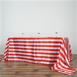 "90""x132"" Stripe Satin Seamless Rectangle Tablecloth - Red & White"