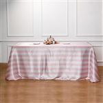 "90""x156"" Stripe Satin Seamless Rectangle Tablecloth - Blush/Rose Gold & White"