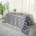 "90""x156"" Stripe Satin Seamless Rectangle Tablecloth - Black & White"