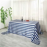 "90""x156"" Stripe Satin Seamless Rectangle Tablecloth - Navy & White"