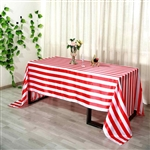 "90""x156"" Stripe Satin Seamless Rectangle Tablecloth - Red & White"