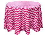 "120"" Round Jazzed Up Chevron Tablecloths - White / Fushia"