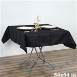 "54"" x 54"" Wonderful Wrinkle and Stain Resistant Value Plus Polyester Tablecloth - Black"