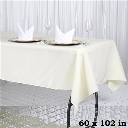 "60x102"" Seamless Value Plus Polyester Tablecloth - Ivory"