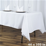 "60x102"" Seamless Value Plus Polyester Tablecloth - White"