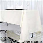 "60x126"" Seamless Value Plus Polyester Tablecloth - Ivory"