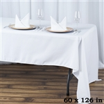 "60x126"" Seamless Value Plus Polyester Tablecloth - White"