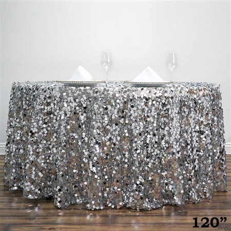 "120"" Silver Wholesale Big Payette Sequin Round Tablecloth for Wedding Banquet Party"