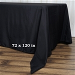 "72x120"" Seamless Value Plus Polyester Tablecloth - Black"