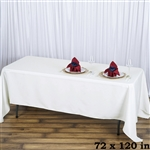 "72x120"" Seamless Value Plus Polyester Tablecloth - Ivory"