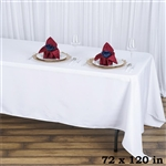 "72x120"" Seamless Value Plus Polyester Tablecloth - White"