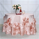 "120"" Blush Large Rosette Round Lamour Satin Tablecloth"