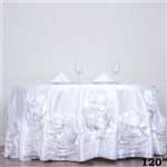 "120"" White Large Rosette Round Lamour Satin Tablecloth"