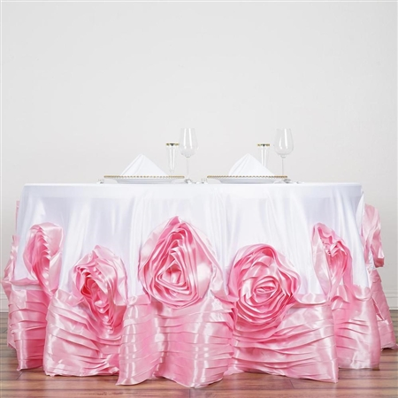 "120"" White/Pink Large Rosette Round Lamour Satin Tablecloth"