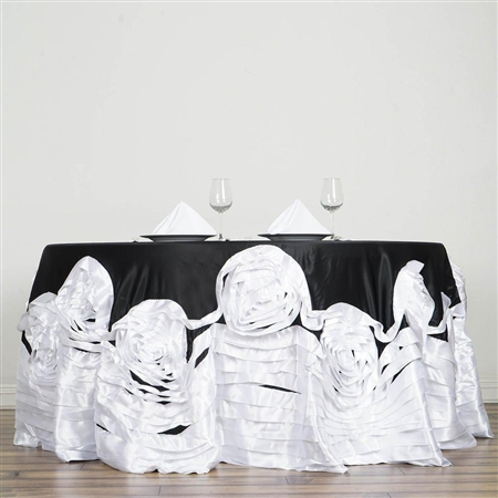 "132"" Black/White Large Rosette Round Lamour Satin Tablecloth"