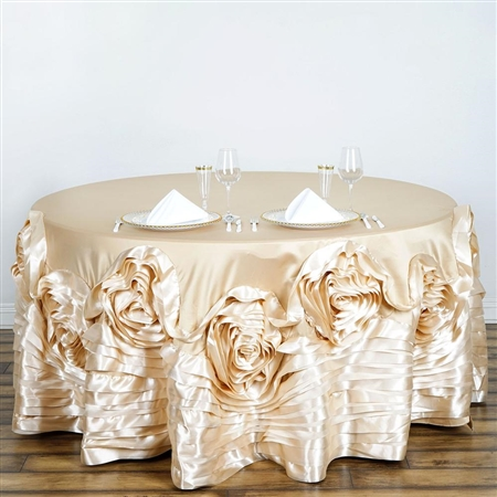 "132"" Champagne Large Rosette Round Lamour Satin Tablecloth"