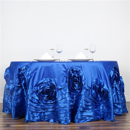 "132"" Royal Blue Large Rosette Round Lamour Satin Tablecloth"