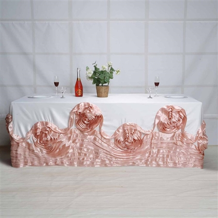 "90""x132"" Rectangular Lamour Satin Rosette Oblong - Blush"