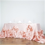 "90""x156"" Rectangular Lamour Satin Rosette Oblong - Rose Gold/Blush"