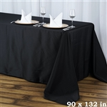 "90x132"" Seamless Value Plus Polyester Tablecloth - Black"