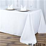 "90x132"" Seamless Value Plus Polyester Tablecloth - White"
